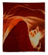 Orange Abstract At Upper Antelope Fleece Blanket