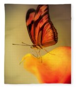 Orange And Black Butterfly Sitting On The Yellow Petal Fleece Blanket