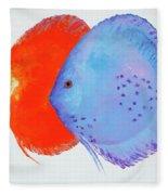 Orange And Blue Discus Fish Fleece Blanket