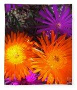 Orange And Fuchsia Color Flowers Fleece Blanket