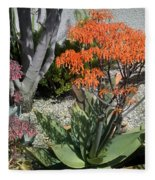 Orange And Pink Exotic Bell Flowers Fleece Blanket
