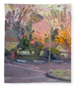 Orange And Pink Sunset Fleece Blanket