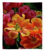 Orange And Red Tulip Lilies In Various Stages Of Bloom Fleece Blanket