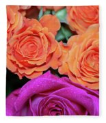 Orange And White With Pink Tip Roses Fleece Blanket