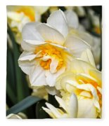 Orange And Yellow Double Daffodil Fleece Blanket