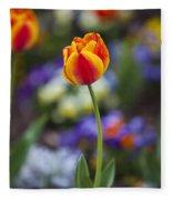 Orange And Yellow Tulip Fleece Blanket