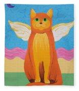 Orange Angel Cat Fleece Blanket
