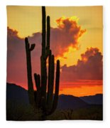 Orange Beautiful Sunset  Fleece Blanket
