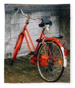 Orange Bicycle In The Street Fleece Blanket