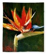 Orange Bird Of Paradise Fleece Blanket