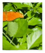 Orange Butterfly On Foliage Fleece Blanket
