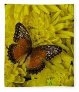 Orange Butterfly On Yellow Mums Fleece Blanket