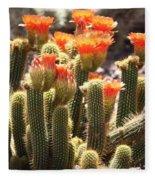 Orange Cactus Blooms Fleece Blanket