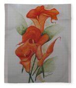 Orange Callas Fleece Blanket