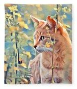 Orange Cat In Field Of Yellow Flowers Fleece Blanket