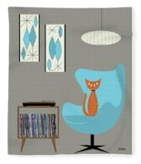 Orange Cat In Turquoise Egg Chair Fleece Blanket