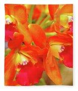 Orange Cattleya Orchid Fleece Blanket