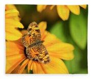 Orange Crescent Butterfly Fleece Blanket