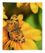 Orange Crescent Butterfly Fleece Blanket