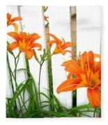 Orange Daylily At Colonial Williamsburg Fleece Blanket