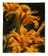 Orange Daylily Fleece Blanket
