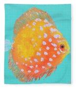 Orange Discus Fish With Purple Spots Fleece Blanket