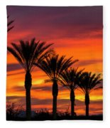 Orange Dream Palm Sunset  Fleece Blanket