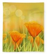 Orange Field Fleece Blanket