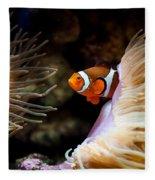 Orange Fish In Sea Anemones Fleece Blanket