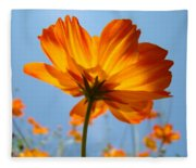 Orange Floral Summer Flower Art Print Daisy Type Blue Sky Baslee Troutman Fleece Blanket