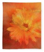 Orange Flower Energy Fleece Blanket