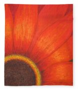 Orange Flower Fleece Blanket