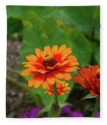 Orange Flowers Fleece Blanket