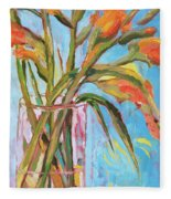 Orange Gladiolus In Vase Fleece Blanket