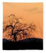 Orange Glow Sunset In The Desert Fleece Blanket