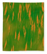 Orange Grass Spikes Fleece Blanket
