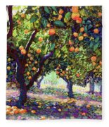 Orange Grove Of Citrus Fruit Trees Fleece Blanket