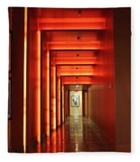 Orange Hallway Fleece Blanket