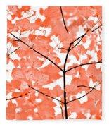 Orange Leaves Melody  Fleece Blanket