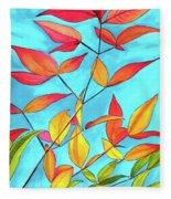 Orange Leaves Fleece Blanket