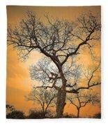 Orange Leopard Fleece Blanket