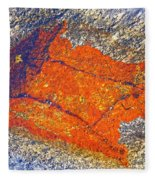 Orange Lichen Fleece Blanket