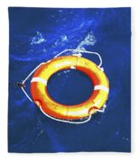 Orange Life Buoy In Blue Water Fleece Blanket