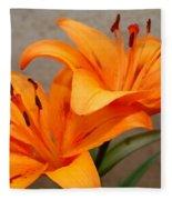 Orange Lilies 2 Fleece Blanket
