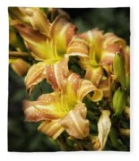 Orange Lilies Portrait Fleece Blanket