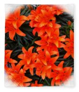 Orange Lilies Vignette Fleece Blanket