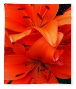 Orange Lily Closeup Digital Painting Fleece Blanket