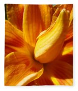 Orange Lily Flower Art Print Summer Lilies Baslee Fleece Blanket