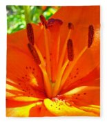 Orange Lily Flower Art Print Summer Lily Garden Baslee Troutman Fleece Blanket
