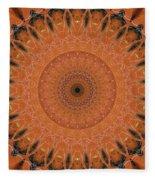 Orange Mandala Fleece Blanket